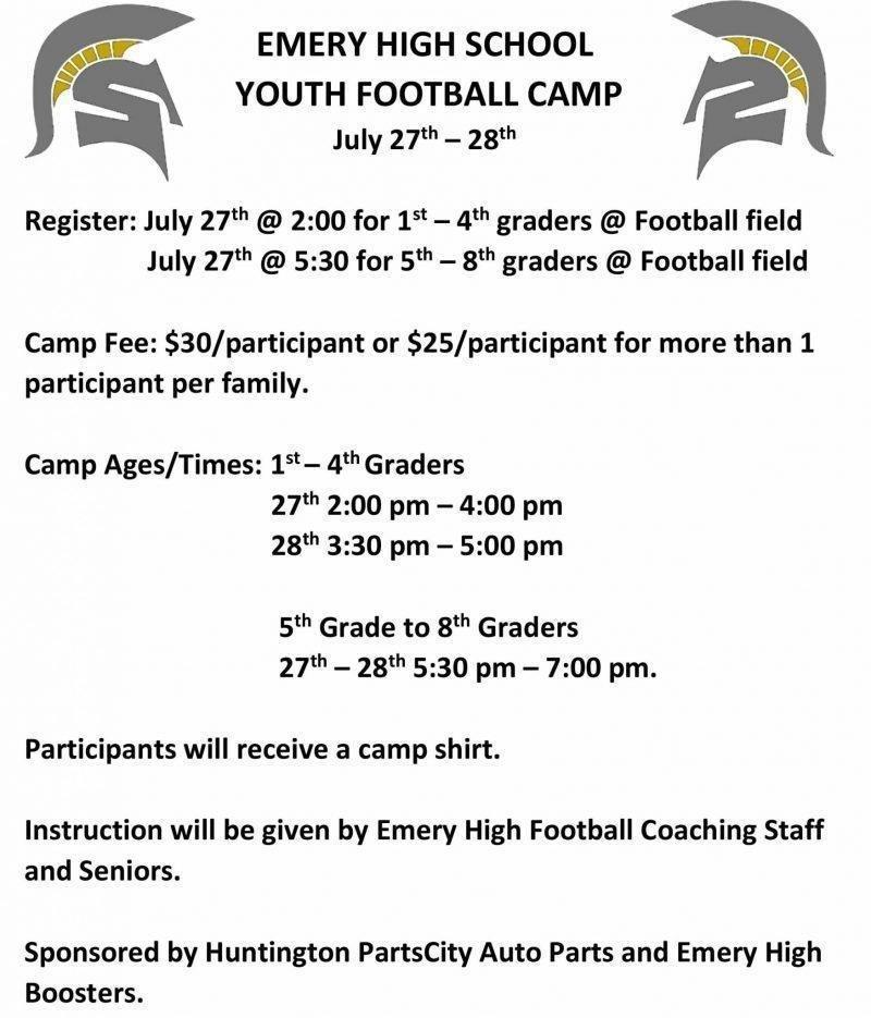 Emery High School Youth Football Camp Changes – ETV News